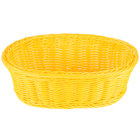Tablecraft HM1174YE Yellow Oval Rattan Basket 9 1/4 inch x 6 1/4 inch x 3 1/4 inch 6/Pack