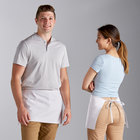 Choice White Poly-Cotton Waist Apron with 3 Pockets - 12 inchL x 26 inchW