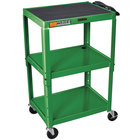 "Luxor W42AGE Green Metal 3 Shelf A/V Utility Cart 18"" x 24"" x 42"" - Adjustable Height"