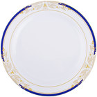 Fineline 4910-WHBG Signature Blu 10 1/4 inch White with Blue and Gold Rim Dinner Plate   - 120/Case