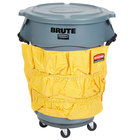 Rubbermaid BRUTE 44 Gallon Gray Round Trash Can, Lid, Caddy Bag, and Dolly Kit