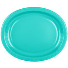 Creative Converting 324773 12 inch x 10 inch Oval Teal Lagoon Paper Platter - 96/Case