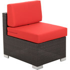 BFM Seating PH5101JV-MW Aruba Java Wicker Outdoor / Indoor Wide Armless Cushion Chair