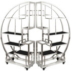 Eastern Tabletop AC1790BK 72 1/2 inch x 13 3/4 inch x 72 inch Cartwheel Stainless Steel Rolling Buffet Set with Black Acrylic Shelves