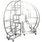Eastern Tabletop ST1790 72 1/2 inch x 13 3/4 inch x 72 inch Cartwheel Stainless Steel Rolling Buffet Set with Clear Tempered Glass Shelves