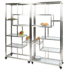 Eastern Tabletop ST1760 71 inch x 14 inch x 73 inch Square Stainless Steel Rolling Buffet Set with Clear Tempered Glass Shelves