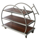 "Eastern Tabletop WT6839 44"" x 21"" x 39"" 3-Tier Round Flip Cart with Stainless Steel Frame and Reversible Wood Shelves"