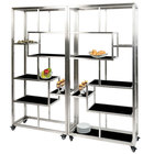 Eastern Tabletop AC1760BK 71 inch x 14 inch x 73 inch Square Stainless Steel Rolling Buffet Set with Black Acrylic Shelves