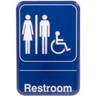 Handicap Accessible Restroom Sign - Blue and White, 9 inch x 6 inch