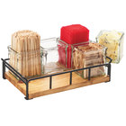 Cal-Mil 3713-99 Madera Reclaimed Wood Organizer with 6 Square Glass Jars - 13 1/2 inch x 5 1/2 inch x 6 inch