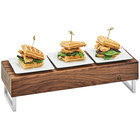Cal-Mil 3724-49 Mid-Century 20 inch x 7 inch x 6 inch Walnut Wood and Chrome Reversible Riser