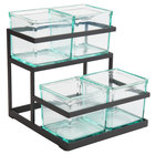 Cal-Mil 3604-13 2-Step Black Condiment Display with 4 Glass Jars - 11