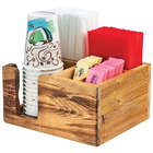 Cal-Mil 3566-99 Madera 5 Compartment Reclaimed Wood Compact Condiment Organizer - 9 3/4 inch x 8 1/4 inch x 5 inch