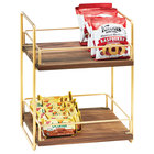 Cal-Mil 3704-2-46 Mid-Century Wood and Brass Two Tier Merchandiser - 13 inch x 12 inch x 16 1/2 inch