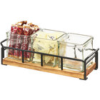 Cal-Mil 3714-99 Madera Reclaimed Wood Organizer with 3 Square Glass Jars - 13 1/2 inch x 4 1/2 inch x 4 3/4 inch