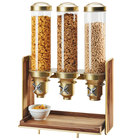 Cal-Mil 3720-46 Mid-Century 13.5 Liter Walnut and Brass Triple Canister Cereal Dispenser - 19 1/2 inch x 12 inch x 28 1/2 inch