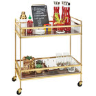 Cal-Mil 3719-46 Mid-Century Brass Beverage Cart with 2 Walnut Shelves - 27