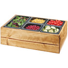 Cal-Mil 3585-99 Madera Reclaimed Wood Salad Station with Clear Ice Liner and 5 Black Pans - 22
