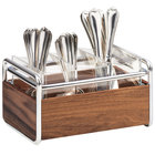 Cal-Mil 3700-49 Mid-Century 3 Compartment Wood Flatware Organizer with Chrome Accents - 9 1/2 inch x 6 1/2 inch x 5 1/2 inch