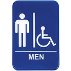 Handicap Accessible Men's Restroom Sign - Blue and White, 9 inch x 6 inch