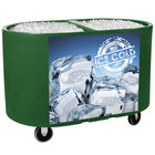 Green Texas Tanker 1060 Portable Insulated Ice Bin / Beverage Cooler / Merchandiser with Two Compartments 256 Qt.
