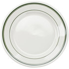 Tuxton TGB-009 Green Bay 9 5/8 inch Eggshell Wide Rim Rolled Edge China Plate with Green Bands - 24/Case