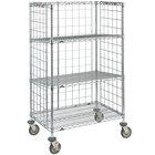 Metro Super Erecta AST35DC Chrome Wire Slanted Shelf Cart 24 inch x 36 inch x 59 inch