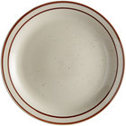 Choice 6 1/2 inch Brown Speckle Narrow Rim China Plate - 36/Case