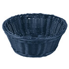 Tablecraft HM1175BL 8 1/4 inch x 3 1/4 inch Blue Round Rattan Basket - 6/Pack