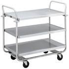 Vollrath 97168 Caravelle Chrome 3 Shelf Tubular Cart - 37 1/2 inch x 21 inch x 35 1/2 inch