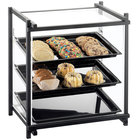Cal-Mil 1143-13 One By One Three Tier Black Display Case with Rear Door - 16 1/2 inch x 14 inch x 22 inch