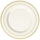 Fineline Silver Splendor 507-BO 7 inch Bone / Ivory Plastic Plate with Gold Bands - 150/Case