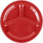 Carlisle 3300005 Sierrus 10 1/2 inch Red 3 Compartment Narrow Rim Melamine Plate - 12/Case