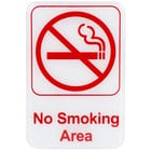 No Smoking Area Sign - Red and White, 9 inch x 6 inch