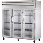 True STR3R-3G Specification Series Three Section Reach In Refrigerator with Glass Doors - 85 Cu. Ft.