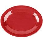 Carlisle 3308605 Sierrus 9 1/2 inch x 7 1/4 inch Red Oval Melamine Platter - 24/Case