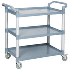 """Choice Gray Utility / Bussing Cart with Three Shelves- 42"""" x 20"""""""