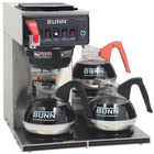 Bunn 12950.0252 CWTF35-3 Automatic 12 Cup Coffee Brewer with 3 Lower Warmers and Black Plastic Funnel - 120/240V