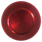 Tabletop Classics by Walco TRR-6655 13 inch Red Round Polypropylene Charger Plate with Beaded Rim