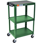 Luxor AVJ42-GN Green 3 Shelf A/V Utility Cart 24 inch x 18 inch - Adjustable Height