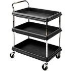 Metro BC2030-3DBL Black Utility Cart with Three Deep Ledge Shelves - 32 3/4