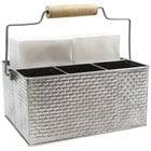"Tablecraft GPSSCADDY Brickhouse 10 3/4"" x 8 1/2"" Stainless Steel Flatware Caddy"