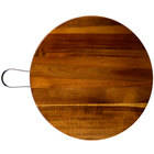 Tablecraft ACAMR14 Acacia Wood Round Display Board with Brushed Nickel Handle - 14 inch x 5/8 inch