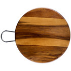 Tablecraft ACAMR10 Acacia Wood Round Display Board with Brushed Nickel Handle - 10 inch x 5/8 inch