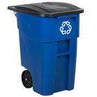 Rubbermaid FG9W2773BLUE Brute 50 Gallon Blue Recycling Rollout Container with Lid