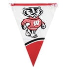 Creative Converting 294858 106 inch Plastic University of Wisconsin 12 Flag Banner - 12/Case
