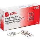 Acco 72130 Silver Smooth Finish #3 Regal Clip - 100/Box