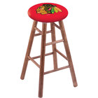 Holland Bar Stool RC30MSMedChiHwk-R Chicago Blackhawks Wood Bar Stool with Medium Finish