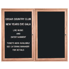Aarco ODC3648L 36 inch x 48 inch Red Oak Enclosed Wooden Indoor Message Center with Black Letter Board and 3/4 inch Letters - 2 Hinged Locking Doors