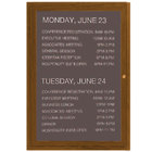 Aarco OADCO4836L 48 inch x 36 inch Enclosed Hinged Locking 1 Door Aluminum with Powder Coated Oak Finish Outdoor Directory Board with Black Vinyl Letter Board and 3/4 inch Letters